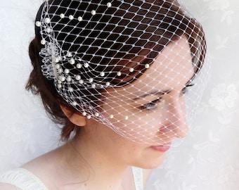 birdcage veil with pearls, wedding bandeau veil, small birdcage veil, bridal bird cage veil -OCEAN MIST- ivory birdcage veil, white birdcage