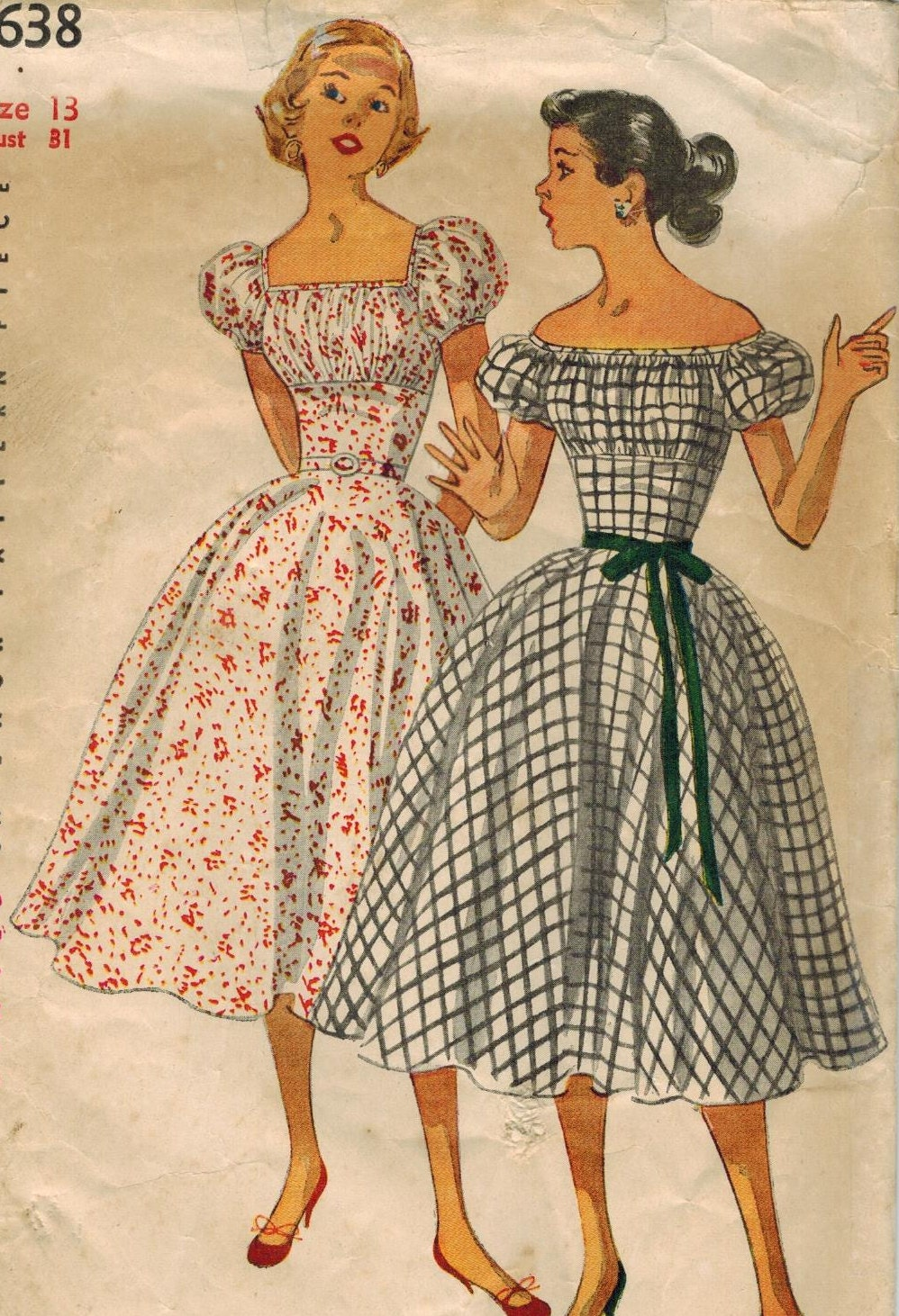 1950s Simplicity 4638 Vintage Sewing Pattern Junior Misses Off