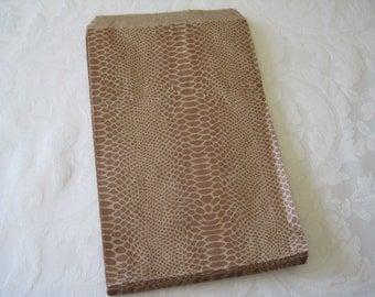 50 Paper Bags, Gift Bags, Kraft Paper Bags, Candy Bags, Brown Paper Bags, Favor Bags, Reptile Party, Snakeskin, Snake, Animal Print 6x9