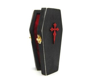 Gothic Cross Coffin Pincushion with Howlite Skull Pin