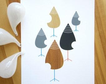 Pine Cone Dropps Art Print, Mid Century Modern, Tear Drops, Abstract Art, Wall Art, 8x10