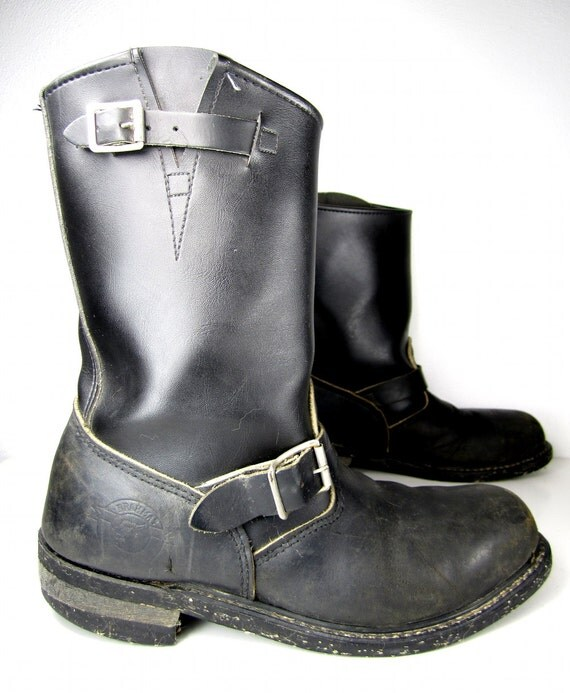 vintage black leather motorcycle boots engineer by luluvoodoo