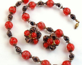 Murano Venetian Glass Red Black Gold Bead Necklace Earrings Set Vintage Italian