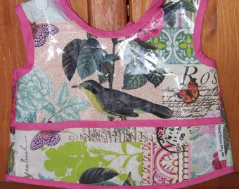 Child's Laminated Art Smock - Size 12-18  Months - Belle Rose by Michael Miller