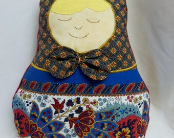 OOAK, Matryoshka, Pillow Doll, Quilted Throw Pillow, Quiltsy Handmade