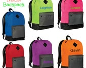 Backpack  for Girls and Boys Personalized Name or Initial Monogram  Back To School Neon Pink Neon Green Neon Orange Neon Purple