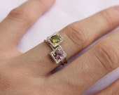 Birthstone Stacking Ring, TWO Little rings, Sterling silver, Made to order, Custom Ring ,  Choose Two Gemstone