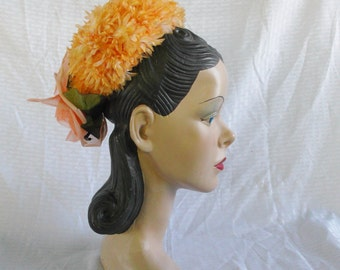 Clearance 1960's Vintage Sally Victor Mini Pill Box Hat Fascinator Orange