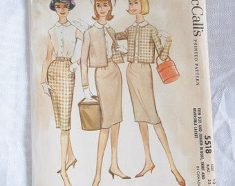 Clearance Early 1960's Vintage Blouse Skirt and Jacket Pattern 33 Inch Bust McCall's 5518 1960