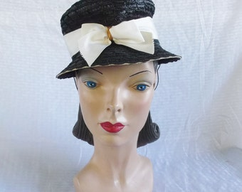Clearance 1940's Vintage Black Straw Hat with White Bow Trim