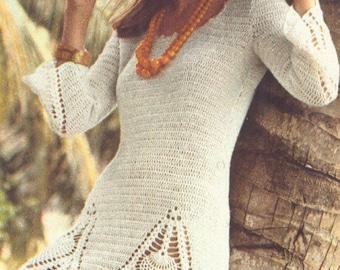 Vintage 1970s Boho Mini Dress Pattern Pineapple Crochet Tunic PDF 7309 Bust 32, 36, 38 Size Small Medium Large