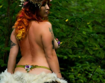 Woodland Nymph Moss and Flower Thong