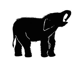 Elephant Art Baby Animal Print Black White Animal Minimalist Wildlife