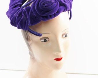 1950s Birdcage Hat Purple Velvet Rosettes Flower Floral