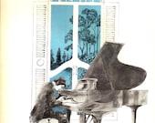 Music Print - Vintage Book Print - Music Art - Classical Music Book Print - Grand Piano Print - Better Homes Garden - Family Song Book