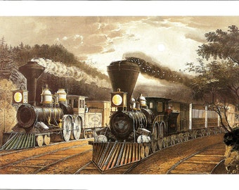 Currier Ives Print - Railroad Print - Vintage Lithograph Postcard - Lightning Express - Train Print - Americana - Frances F Palmer - 1860s