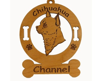 2113 Smooth Chihuahua Head Personalized Wood Ornament