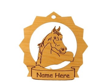 088049 Arabian (Head) Horse Wood Personalized Ornament