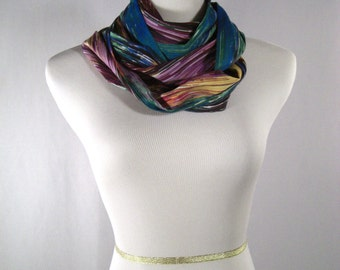 Infinity Scarf - Waterfall Scarf - Green Purple Aubergine White Blue Yellow Abstract Stripes - Silk - Long Cowl