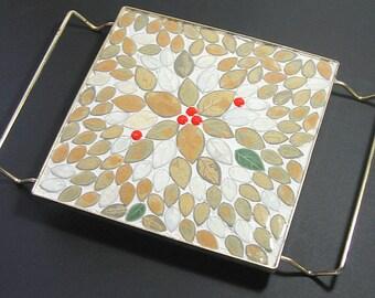 SALE - Vintage Mosaic Trivet, Mosaic Trivet Brass Stand, Vintage Mid Century Trivet, Retro Mosaic Trivet, Vintage Mosaic Brass Trivet