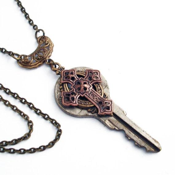 Key Necklace Handmade Jewelry - Key to Spirituality - Cross Pendant