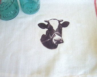 Cow Kitchen Tea Towel, Rustic Farm Style Kitchen Towel