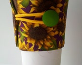 LAST CALL Sunflower Tapered Cup Cozy ~ Adjustable & Handcrafted ~ READY To S H I P