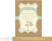 Stork Baby Shower Invitation, Vintage Stork Gender Neutral Baby Shower Invitation, Mint Green Burlap Baby Shower Invitation, Printable
