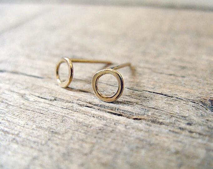 Tiny post hoop earrings 14k gold fill 5mm