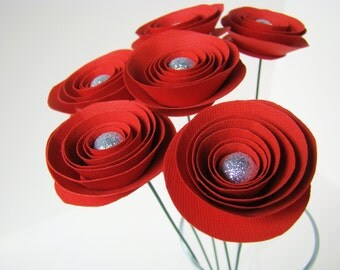 One Dozen Spiral Paper Roses - Glitter Centers - With Stems - Red only