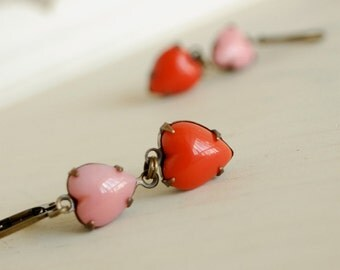 heart earrings pink and coral glass heart dangle earrings - sweet on you