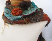 Nuno felted scarf in teal, orange and brown - BlindSquirrel
