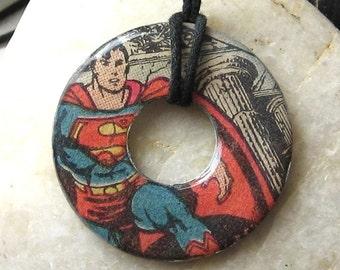 SUPERMAN Vintage Comic Book Upcycled Washer Hardware Pendant Necklace DC Comics Design 4