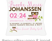 Birth announcement new baby gift hoot owl throw pillow