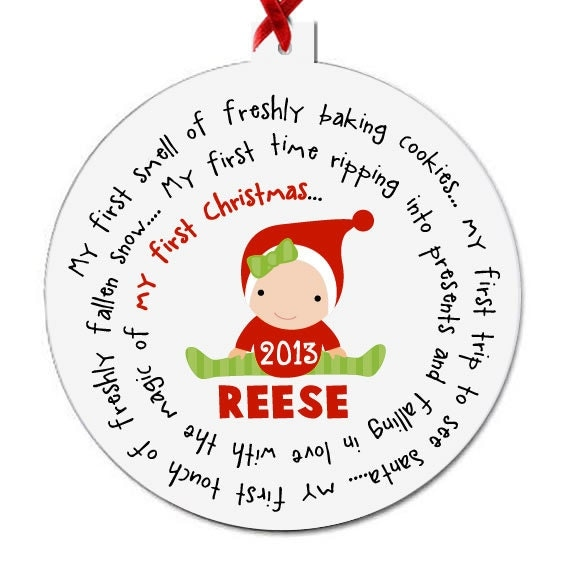 Babys First Christmas Gifts: Baby's First Christmas Ornament Personalized For A By