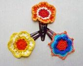 Handmade Crochet Flower Hair Clips Trio