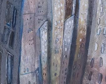 Midtown, New York City Art - Manhattan, Cityscape, Street Art, Illustration, Mix Media, Monochromatic, brown, grey, green