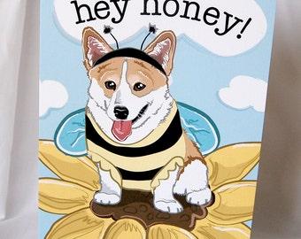 Corgi Bee Greeting Card