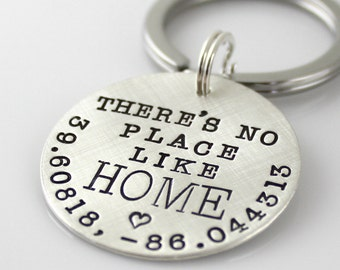 Personalized Geographic Coordinates Keychain - There's No Place Like Home hand stamped sterling silver keychain