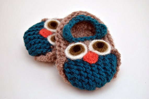 Wool Baby Owl Slippers, Wool Baby Slippers, Crib Shoes, Booties