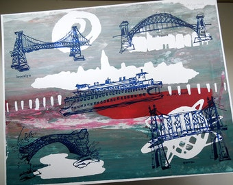 THE FIVE BOROUGHS #35   travel sketches of New York City bridges, hand printed in bright blue over rainy day colors by Kathryn DiLego