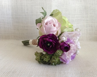 Lovely Petite Bouquet/ Romantic Wedding Bouquet/ Green, Purple, Ivory