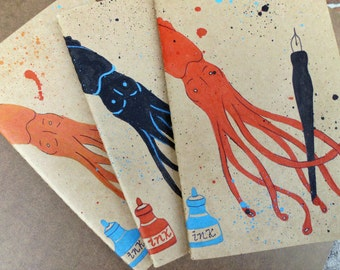Writing Journal, Hand Painted Moleskine, Squid, Moleskine Journal, Cephalopod, Large, Gift for Writer, Notebooks Journal, Moleskine Notebook