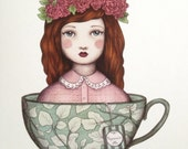 Miss Peppermint Tea lady - The Tea Ladies Square Greeting Card