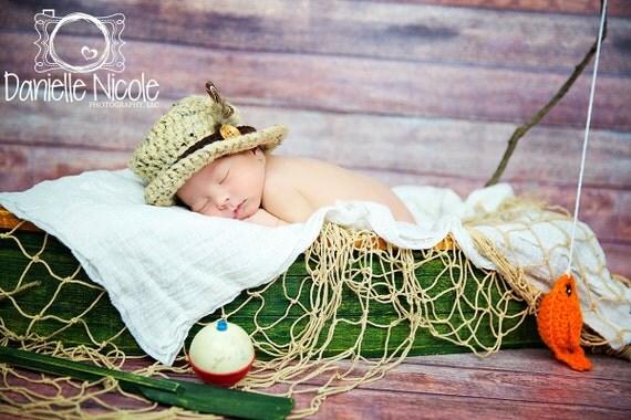 Items similar to baby boy fishing hat fish set newborn 0 for Baby fishing hat