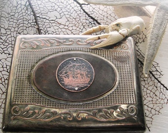 Clipper Ship Etched Wallet / Cigarette Case in Medallion Scroll 100 - Acid Bath Series