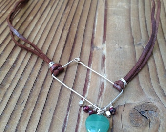 Handcrafted Silver Asymmetrical Necklace on Leather with Green Aventurine Heart and Garnet Dangles, Free Shipping
