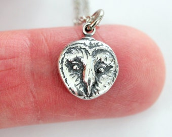 Barn Owl Pendant Necklace in Sterling Silver 369