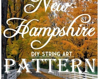 """New Hampshire - DIY State String Art Pattern - 11"""" x 6"""" - Hearts & Stars included"""