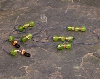 """Pebble-y Lime Green Eyeglass Chain Lanyard, Glasses Leash, Navy Gold and Lime Green 33"""" - G16"""